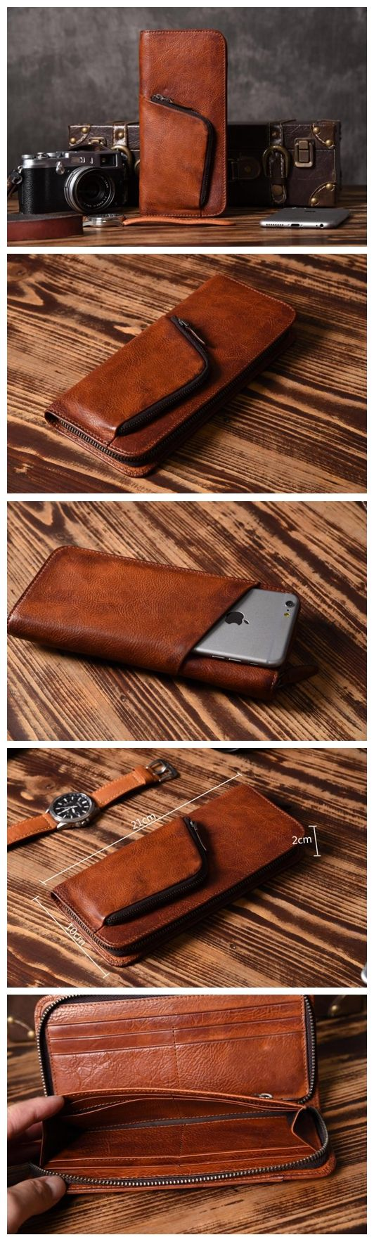 LISABAG--Handmade Men Long Leather Wallet Vintage Gray Brown Long Wallet For Him MT02