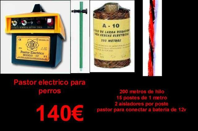 . Kit de pastor electrico para perros completo. Pastor electrico para conectar a bateria de 12 voltios. Hasta 1 julio de energia. 12000 voltios. 15 postes de fibra de 1 metro de alto con 2 aisladores por poste. 200 metros de cable conductor de 3 conductores