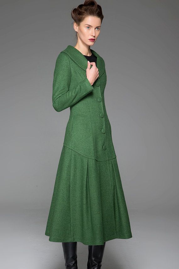 Green Winter Coat - Vintage Style Long Single-Breasted Elegant Feminine Designer Women's Wool Blend Swing Coat with Dropped Waist (1413)