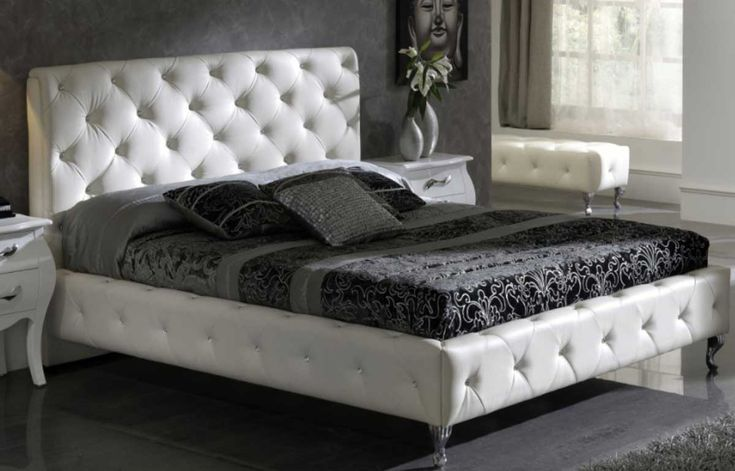 Charming White Bedroom Furniture With Modern Black Cushion And Pillows Bedroom Design Plus Two White Small Tables Bedroom Furniture And Gray Floor Design Ideas