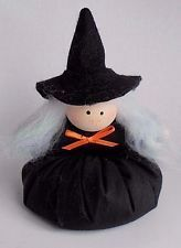 Country Primitive Halloween Stuffed Plush Hand Made Witch Bean Bag Black