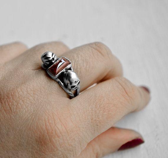 Womens skull ring  witch silver skull garnet ring  by annoushe