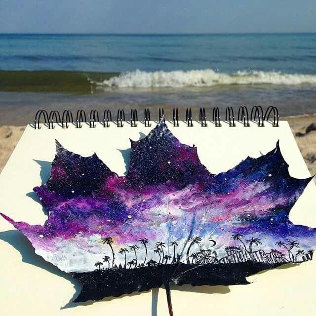 Galaxy painted leaf