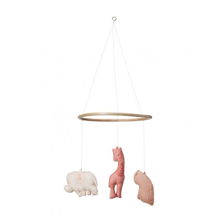 A soft and beautiful Scandinavian styled mobile for baby or child, featuring an Elephant, a Rhino and a Giraffe.    Perfect to hang from the ceiling, over a cot or over a changing station.   Each Animal Mobile is carefully handmade, thus variations can sometimes occur.   Lovingly designed in Denmark by Cam Cam, these whimsical mobiles come in 2 soft colour ways.    Available in Mint or Rose.
