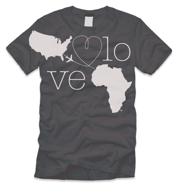 Goal:  To raise fund for my upcoming mission trip to Ethiopia Audience:  Friends/Family/Church Members/You? Direction: Depicts the purpose of the mission trip... to share love. Project:  These will be printed on American Apparel 50/50, heather black Other important info: Would you wear this t-shirt?  --------------  This is a mock-up of a shirt design I'm putting together to raise funds for my upcoming mission trip to Ethiopia in February 2010.  Comments/Suggestions?