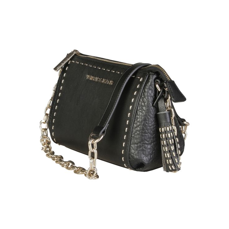 Versace Jeans – E1VPBBS3_75593   Clutch eco-leather bag has removable shoulder strap,zip fastening, lined interior and a dustbag. Inside it, there are a zipped pocket, 2 patch pockets. It is of size 23,5*15,5*10,5 cm.  https://fashiondose24.com