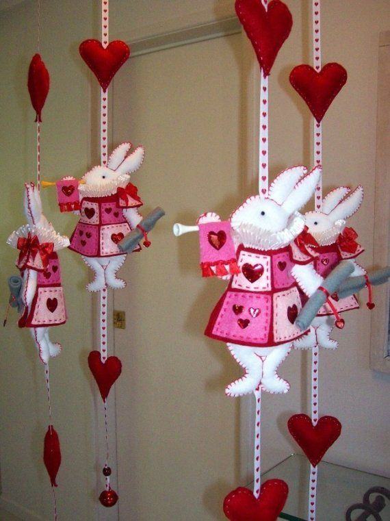 Nursery Mobile White Rabbit in court pink and by lilliputloft