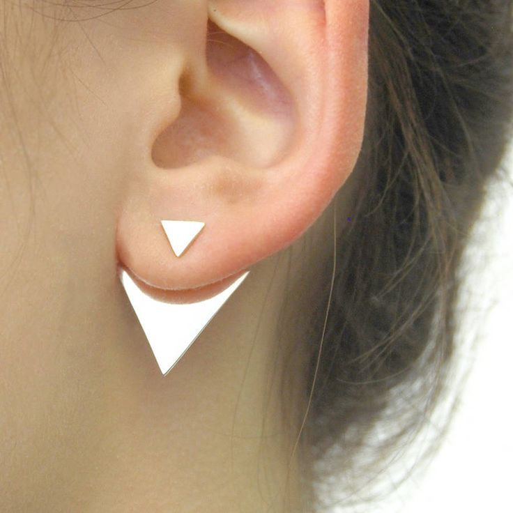 geometric triangle two way sterling silver ear jackets by otis jaxon silver and gold jewellery | notonthehighstreet.com