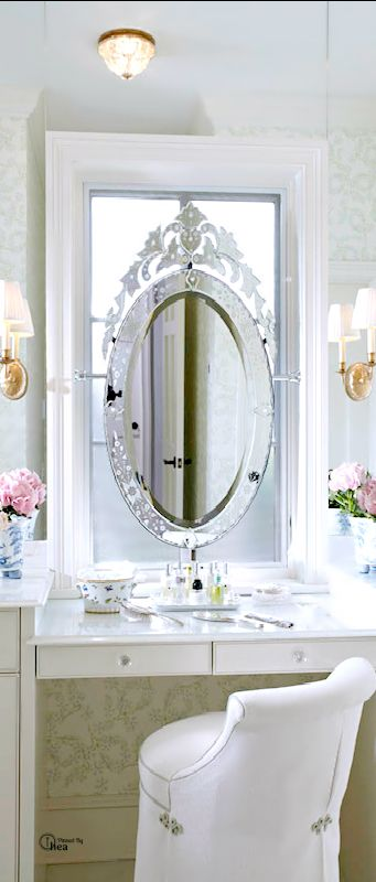 Beautiful Venetian Mirror As A Vanity Mirror Over A Well Arranged White Dressing  Table