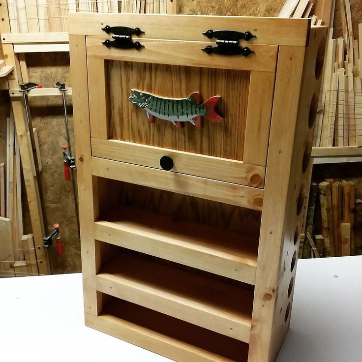 Details About FLY ROD U0026 REEL STORAGE CABINET Smallmouth Musky WARM WATER  FISH Bluegill Crappie