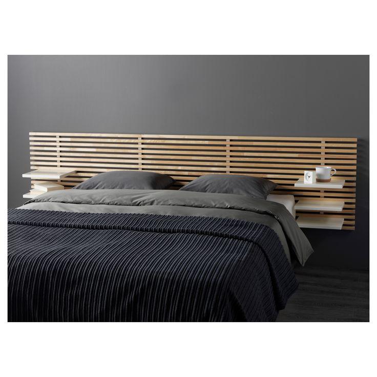 IKEA - MANDAL, Tête de lit, , Combinée aux tablettes réglables, la tête de lit convient au lit d'une largeur allant jusqu'à 160 cm.Peut se combiner au lit MANDAL avec boîtes de rangement ou avec un sommier avec pieds.A monter au mur à la hauteur désirée.A monter au mur pour libérer de la place au sol.En bois massif, un matériau naturel et résistant à l'usure.
