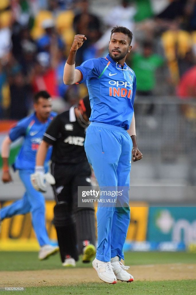 India S Hardik Pandya Celebrates After Bowling Out New Zealand S Ross In 2020 India Cricket Team Cricket Teams Cricket Sport
