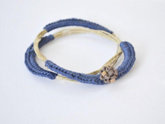 Navy blue bracelet eco friendly blue bracelet simple by Loulalalou