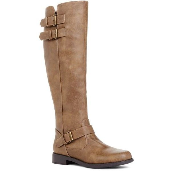 Justfab Flat Boots Cassilda (£33) ❤ liked on Polyvore featuring shoes, boots, brown, brown wide calf boots, brown boots, brown flat boots, wide calf knee high boots and flat brown knee high boots