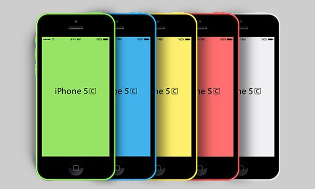 New iPhone 5C PSD Mockup