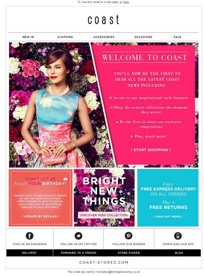 Coast | welcome | WelcomeEmails | emailmarketing | email | newsletter | welcome newsletter | welcome email | WelcomeEmail | relationship emails | emailDesign