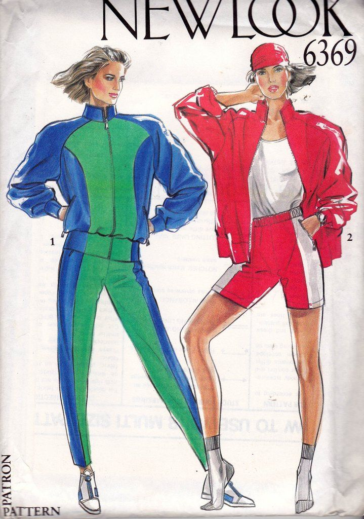80s Womens Tracksuit Jogging Suit pattern New Look 6369 Sizes 8 - 18 UNCUT Factory Folded