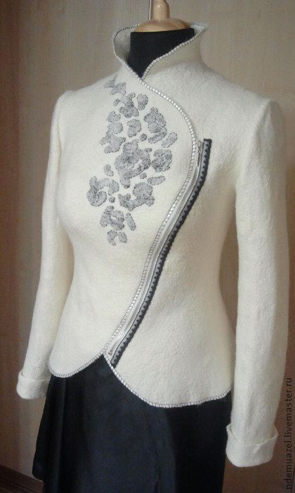 Куртка-пиджак - белый,абстрактный,куртка,пиджак,осень,асимметричный,косуха