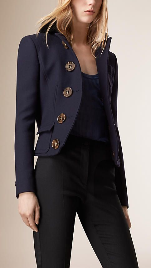Burberry Navy Tailored Wool Silk Jacket - A cropped and tailored jacket in a wool and silk blend. The fitted design is tapered at the waist with a seam detail. Discover the women's outerwear collection at Burberry.com