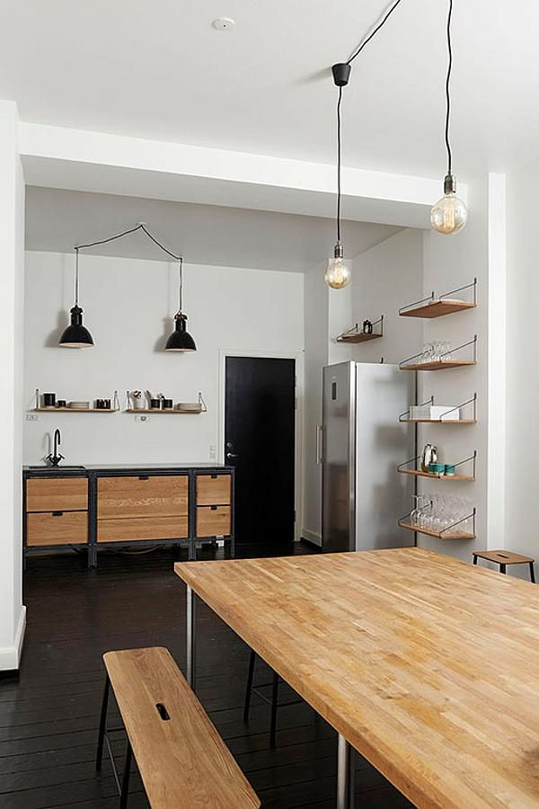 A simple but stylish kitchenette at the offices of magazine Soundvenue by Danish…