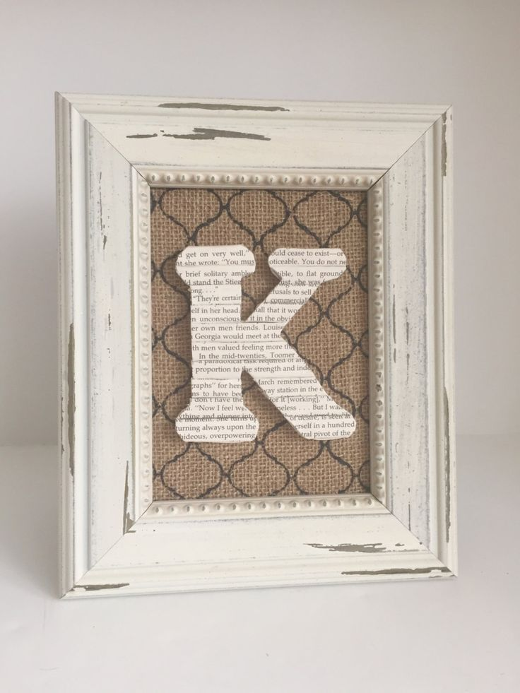 Cottage Frame Initial, Shabby White Framed Initial, Framed Book Letter, Letter K, Gift for Book Lover, Framed Book Page, Wall Letter, Book by ArtfulLibrary on Etsy https://www.etsy.com/uk/listing/285714703/cottage-frame-initial-shabby-white