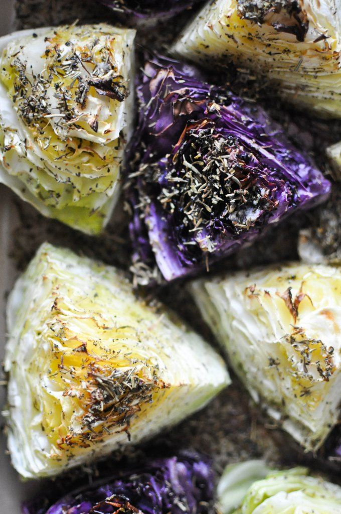 *****Roasted Green and Purple Cabbage | So good! Awesome with Herbs de Provence