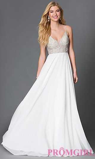 JVN by Jovani Spaghetti Strap Open Back Prom Dress with Beaded Bodice at PromGirl.com