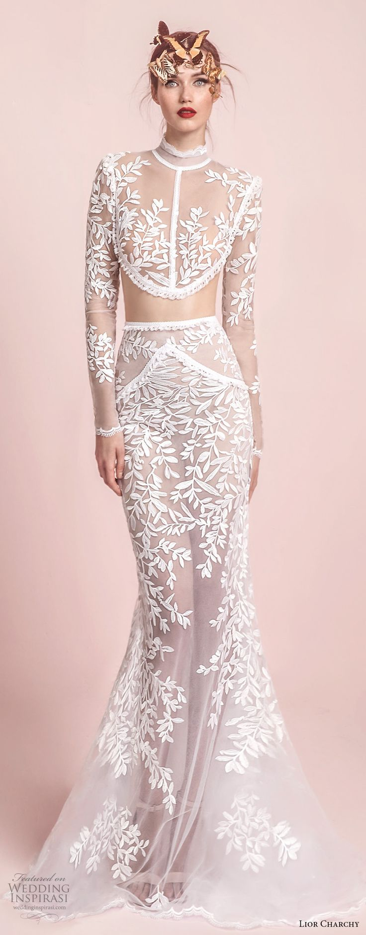 lior charchy spring 2017 bridal long sleeves high neck heavily embellished bodice crop top sexy chic fit and flare mermaid wedding dress sheer lace back sweep train (9) mv -- Lior Charchy Spring 2017 Wedding Dresses