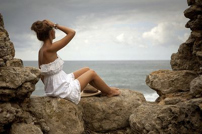 beach, dress, girl, hair, nature - inspiring picture on Favim.com