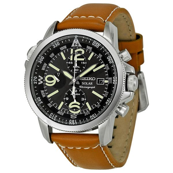 Seiko Solar Chronograph Compass Black Dial Mens Watch SSC081. Quartz, but great value for the money.