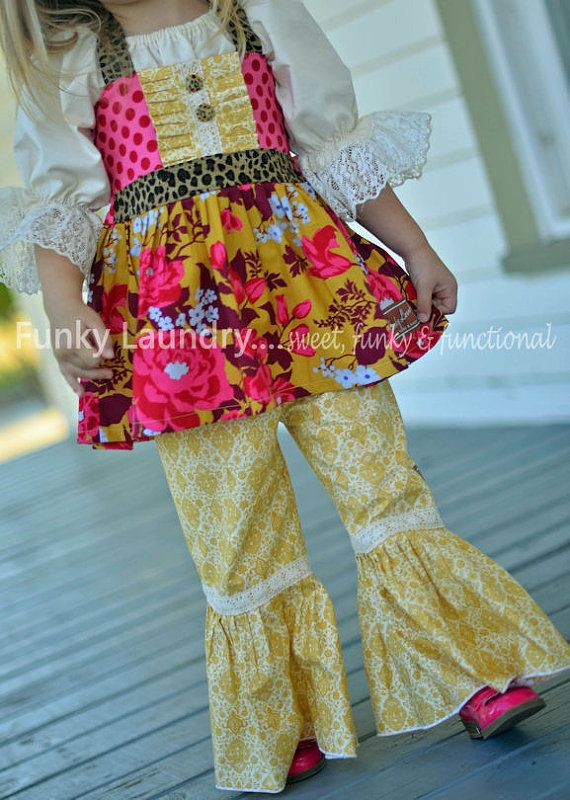 Fall 2013 Heirloom Gold Ruffle Pants with vintage by FunkyLaundry, $32.00