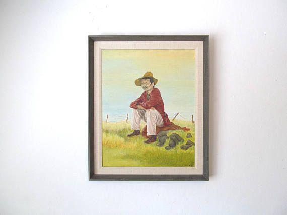 Vintage Oil Painting of Depression Era Migrant Worker