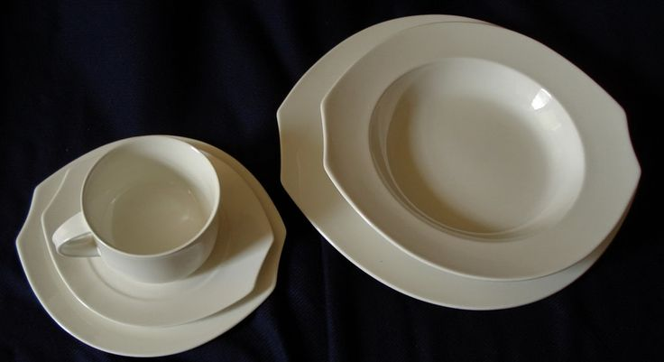 VILLEROY & BOCH lot 43 pc Alba Elliptical White China vintage cup DISH PLATE set 80s 90s modernist fine bone china dinnerware bowls plates cups saucers on eBid Canada