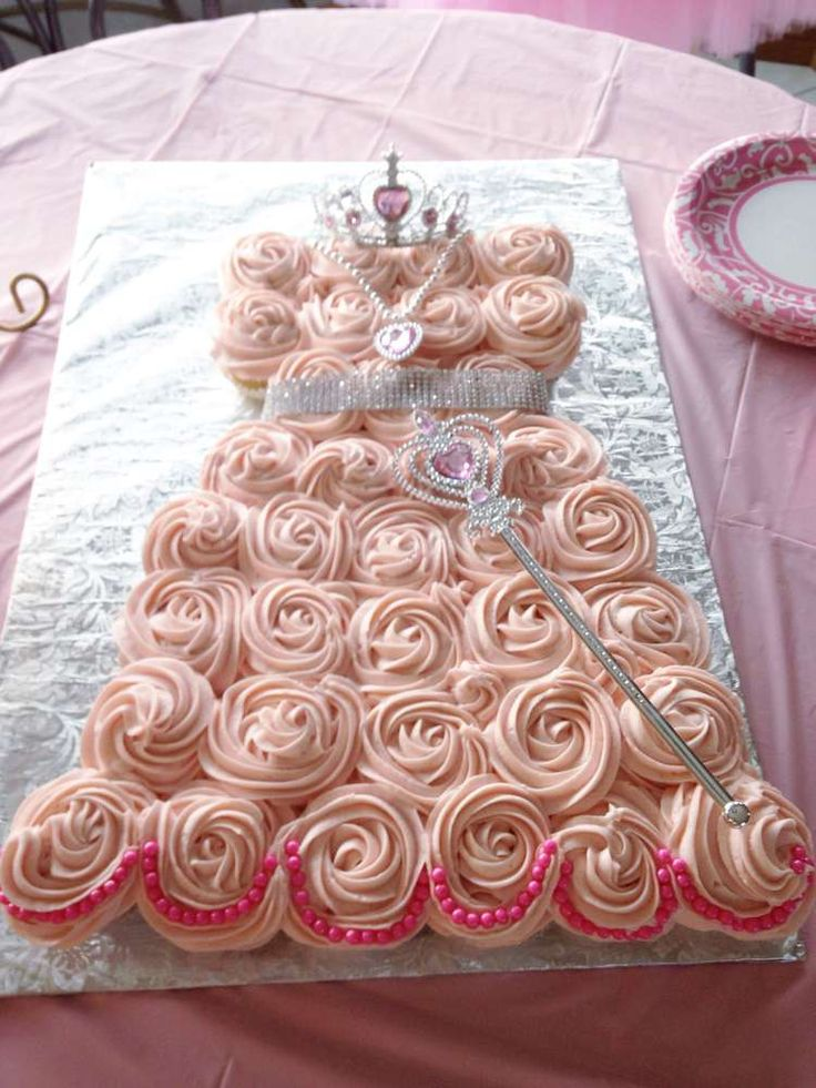 Pink cupcake cake at a princess birthday party! See more party ideas at CatchMyParty.com!