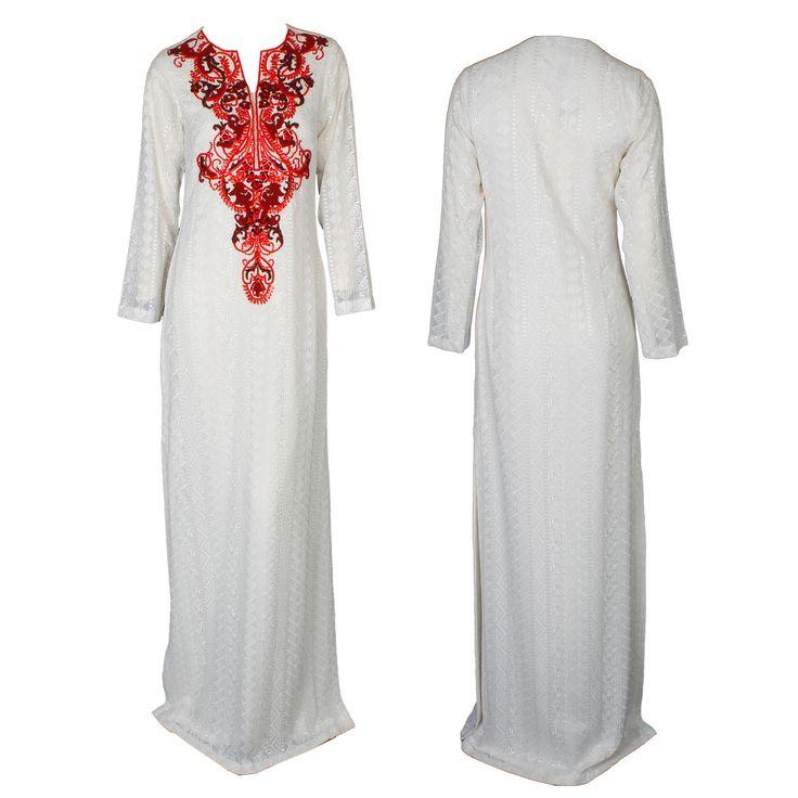 A stunning white floor-length Kaftan dress with a brocade hemline by Mynahs #mynahs #kaftan #white #eveninggown #brocade #red #fashion #dubaifashion #abudhabi #gbmoda #luxury #greenbird #ramadan #hautecouture #marinamall #trendsetter #elegance