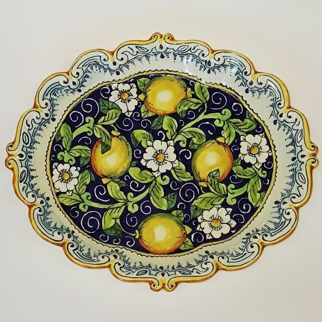 Italian Ceramic Art Pottery Plate Serving Tray Lemon Handmade in ITALY Tuscan