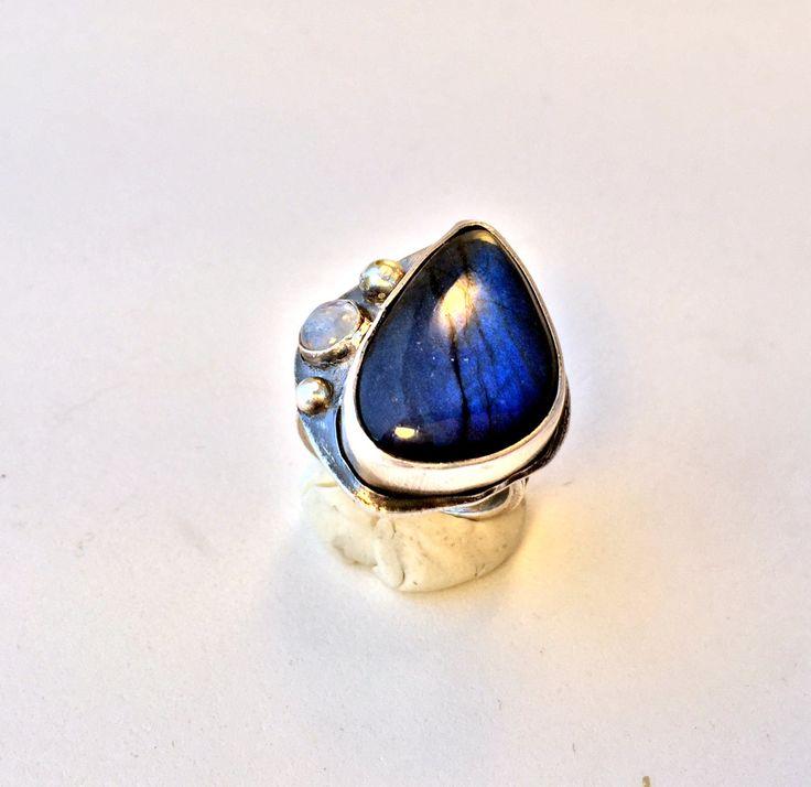 Blue labradorite ring, silver ring, moonstone ring, multistone ring, statement ring by MandanaStudios on Etsy