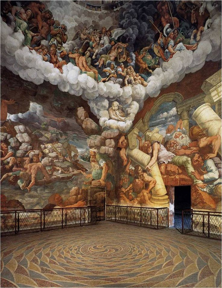 072-HIGH RENAISSANCE ARCHITECTURE, Giulio Romano; Fall of the Giants, Sala dei Giganto, Palazzo del Tê, Mantua, 1525-1535. # Giulio Romano also executed several of the fresco murals decorating the interior, which is among the most important fresco of Mannerism.#