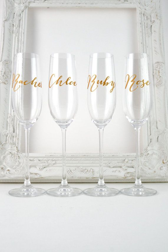 These lovely, champagne flutes are 27cm tall and made from high quality, lead free crystal with a laser-cut rim, a long, elegant stem and generous flute that holds up to 250ml. The featured glasses are hand painted with names in a cursive script with a matt gold finish. You can choose to have a name or title of your choice, painted on to the glass - please leave details in a note with your order. If you need a little inspiration, there are some suggestions below... Bride and Groom His an...