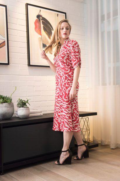 2f92b5a7bc Petite Nancy Mac Sable Midi Dress Ruby Stork Print Satin Crepe    BombPetite .com