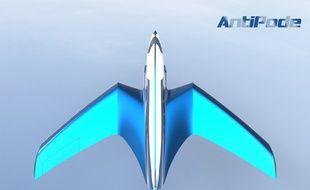 Une image de synthèse d'Antipode, le jet supersonique qui pourrait relier Paris à New York en moins d'un quart d'heure.