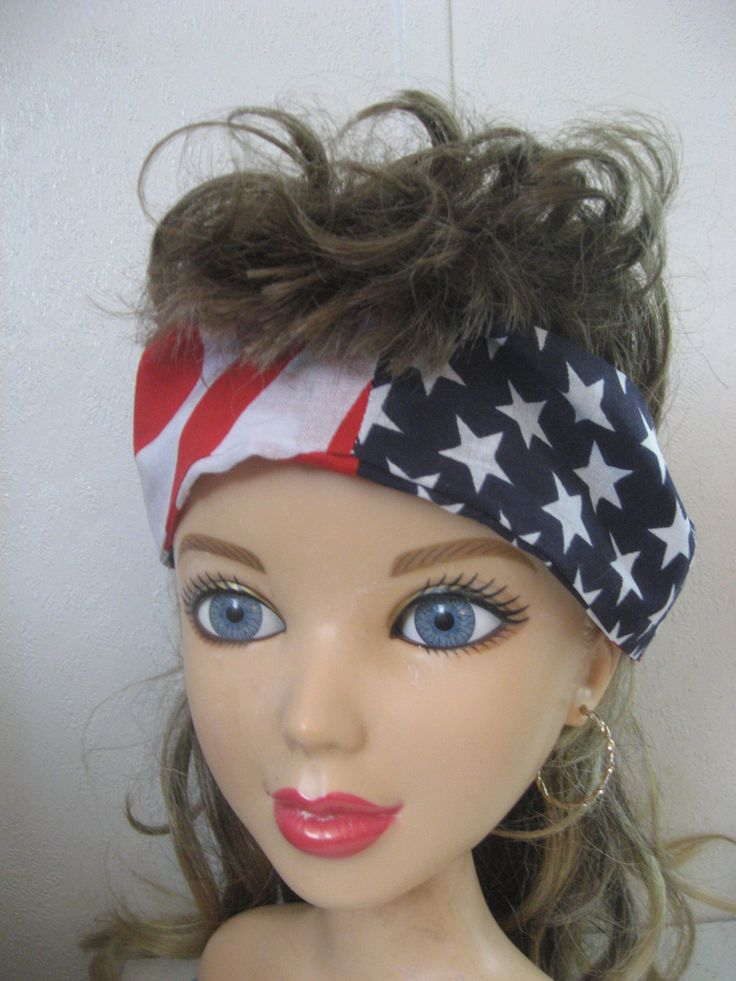 Summer Sale, American Flag Bandana, Knotted Hairband, PinUp Hair Band, Hair Band, Hair Trend, Hippie, RockaBilly 50s Teens Women  #340 by StitchesByAlida on Etsy
