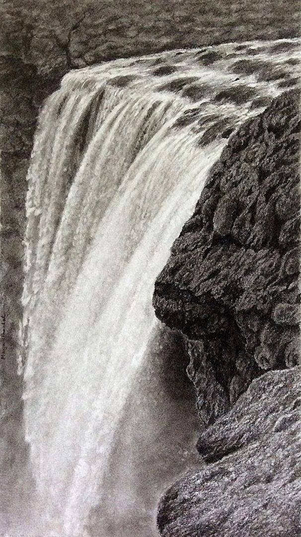 Charcoal painting of Waterfall from iceland, created on Canson c a grain paper. visit blog to view more works  www.charcoalspastelsandmore.blogspot.in