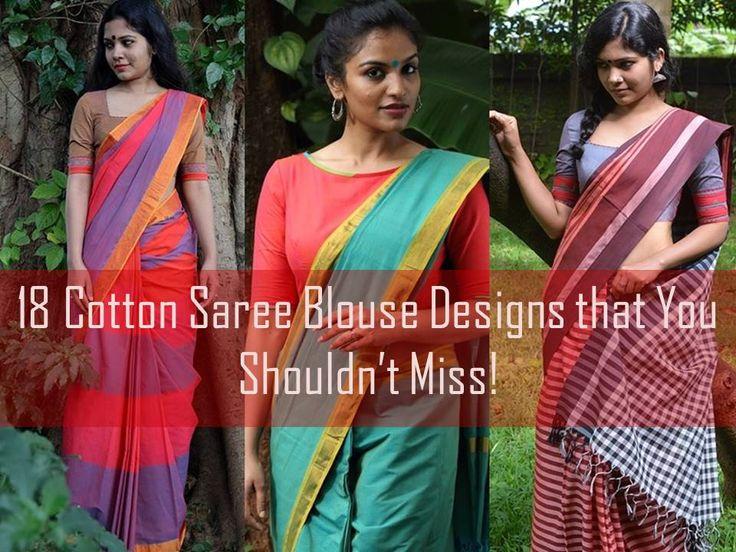 Latest Cotton Saree Blouse Designs 2016, Cotton Saree Blouse Neck Designs, Cotton Saree Front