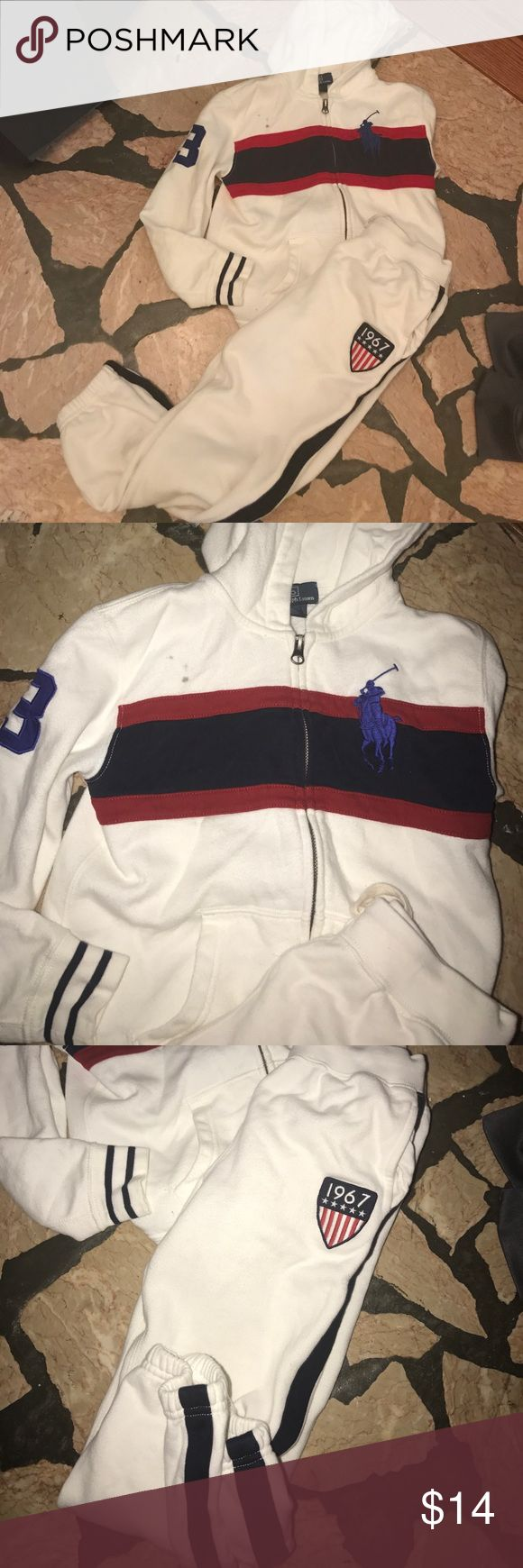 Little boy Polo jogging suit sz 7 White long sleeve zip up hooded jacket. It has a stain on the front. Elastic pant Polo by Ralph Lauren Matching Sets