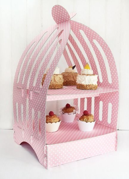 Muffinständer - Etagere Birdcage - Polka dots rosa von dueTori via dawanda.com