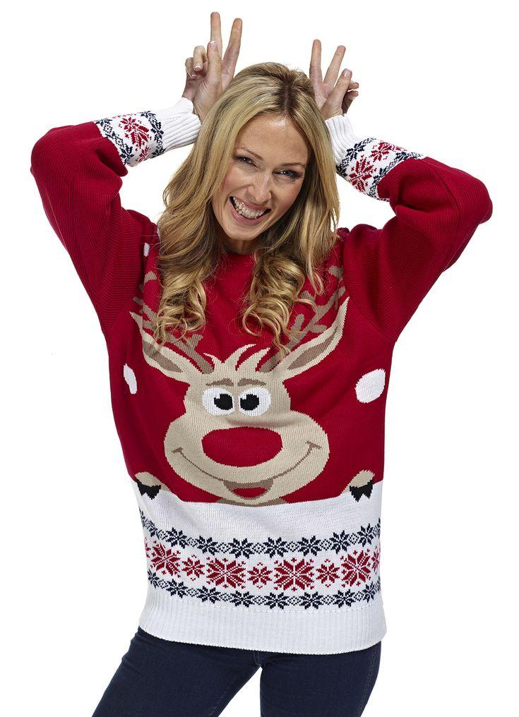 Kersttrui rendier dames. Populaire foute kersttrui voor dames, leuke afbeelding van Rudolph op de voorkant. Gemakkelijk met Ideal betalen en snelle levering