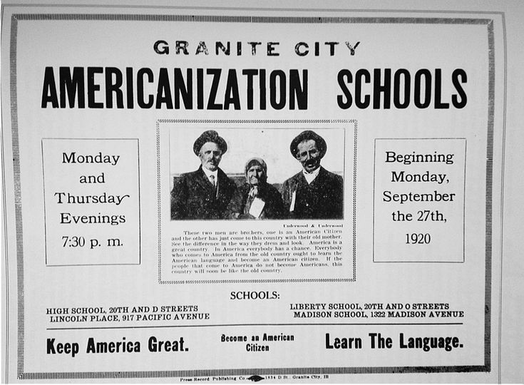 Granite City, Illinois, USA.  School of Americanization: Building, Language
