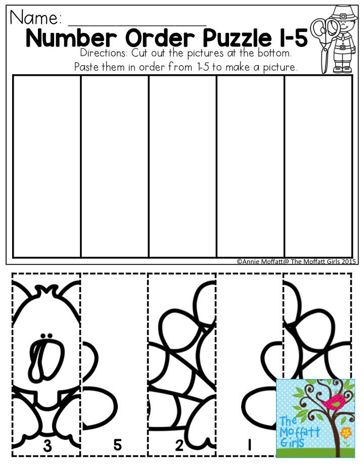 Number Order 1-5- Cut, paste and color in order to create a fun Thanksgiving Day picture! One of the many activities in the November NO PREP Packet!