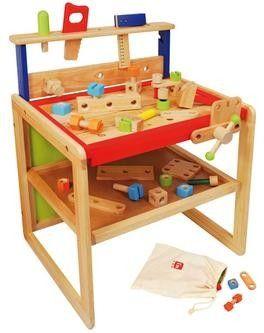 Die besonders große,massive Werkbank aus Gummibaumholz wird gekippt zum Schreibtisch.    Tischhöhe 44 cm.